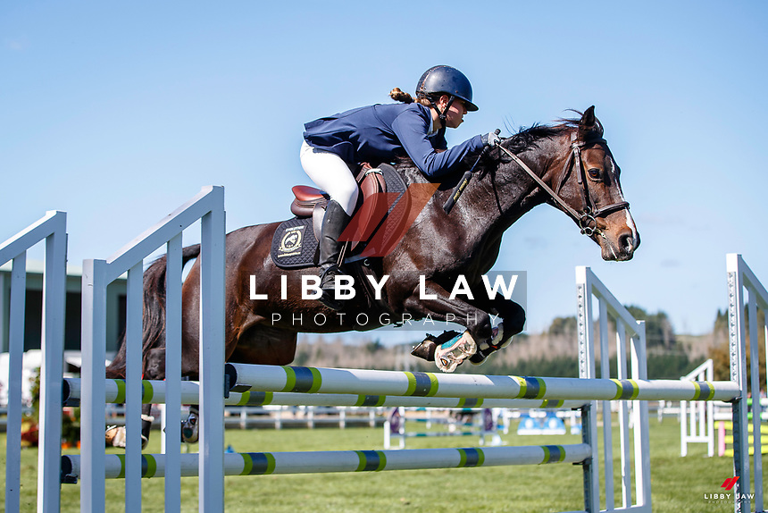 NZL-Francesca Bishell rides Galaxy Disco Fever II. Class 26: Pony 1.05m Ranking Class. 2021 NZL-Easter Jumping Festival presented by McIntosh Global Equestrian and Equestrian Entries. NEC Taupo. Saturday 3 April. Copyright Photo: Libby Law Photography