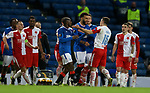 18.3.2021 Rangers v Slavia Prague: Connor Goldson reacts to Ondrej Kudela after second half flashpoint with Glen Kamara