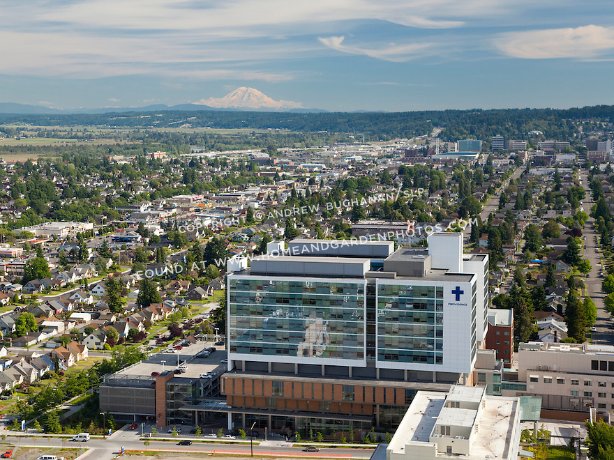 Providence Medical Center in Everett, WA, and Mount Rainier behind; June, 2012.