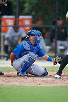 Toronto Blue Jays catcher Jonelvy Molina during an Instructional League game against the Pittsburgh Pirates on October 14, 2017 at the Englebert Complex in Dunedin, Florida.  (Mike Janes/Four Seam Images)