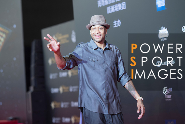 Allen Iverson (hat) walks the Red Carpet event at the World Celebrity Pro-Am 2016 Mission Hills China Golf Tournament on 20 October 2016, in Haikou, China. Photo by Weixiang Lim / Power Sport Images