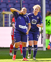 Mariam Abdulai Toloba (19) of Anderlecht pictured celebrating with teammates after scoring a goal during a female soccer game between RSC Anderlecht Dames and Standard Femina De Liege on the third matchday of play off 1 of the 2020 - 2021 season of Belgian Womens Super League , saturday 24 th of April 2021  in Brussels , Belgium . PHOTO SPORTPIX.BE | SPP | DAVID CATRY