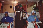 Mount Zion Spiritual Baptist church North London UK. Bishop Noel preaching. Mother Twila ( Mrs Noel) on right. Mother Joyce on left. 1990s