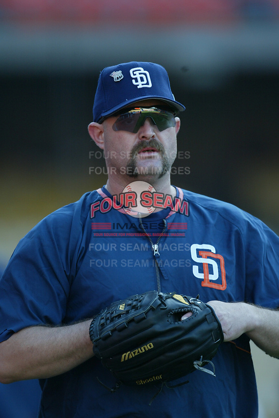 Rod Beck of the San Diego Padres during a 2003 season MLB game at Dodger Stadium in Los Angeles, California. (Larry Goren/Four Seam Images)