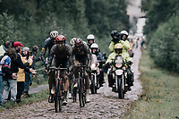 Harry Sweeny (AUS/Lotto Soudal) through the Arenberg Forest / Trouée d'Arenberg / Bois de Wallers<br /> <br /> 118th Paris-Roubaix 2021 (1.UWT)<br /> One day race from Compiègne to Roubaix (FRA) (257.7km)<br /> <br /> ©kramon