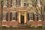 classic brick colonial front with flowering pear trees