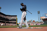 SAN FRANCISCO - APRIL 9:  Jason Heyward of the Atlanta Braves waits in the on deck circle during the game between the Atlanta Braves and the San Francisco Giants on Friday, April 9, 2010, at AT&T Park in San Francisco, California.  The Giants defeated the Braves 5-4.  (Photo by Brad Mangin)