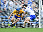 Shane O Donnell of Clare  in action against Barry Coughlan of Waterford during their Munster  championship round robin game at Cusack Park Photograph by John Kelly.