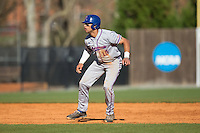 Bre'shon Kimbell (15) of the Louisiana Tech Bulldogs takes his lead off of second base against the Charlotte 49ers at Hayes Stadium on March 28, 2015 in Charlotte, North Carolina.  The 49ers defeated the Bulldogs 9-5 in game two of a double header.  (Brian Westerholt/Four Seam Images)