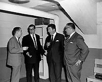 Les comediens Gilles Latulippe, Denis Drouin et Paul Berval en compagnie d'un homme au Colisee de Quebec<br /> , le 20 juin 1966<br /> <br /> Photographe : Lionel Couture- Agence Quebec Presse