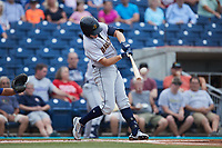 Curtis Mead (16) of the Charleston RiverDogs follows through on his swing against the Kannapolis Cannon Ballers at Atrium Health Ballpark on July 1, 2021 in Kannapolis, North Carolina. (Brian Westerholt/Four Seam Images)