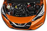 Car Stock 2017 Nissan Micra Tekna 5 Door Hatchback Engine  high angle detail view
