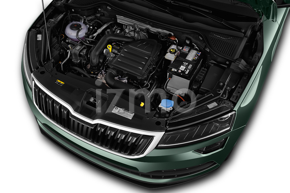 Car stock 2018 Skoda Karoq Style 5 Door SUV engine high angle detail view