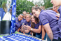 players of Anderlecht with Mariam Abdulai Toloba (19) of Anderlecht , Laura Deloose (14) of Anderlecht , Tine De Caigny (6) of Anderlecht and Britt Vanhamel (4) of Anderlecht pictured during the celebration of their Belgian Scooore Womens Super League 2020 - 2021 title after winning the championship , saturday 5 th of June 2021 in Anderlecht , Belgium . PHOTO SPORTPIX.BE | SPP | STIJN AUDOOREN