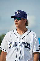 Charlotte Stone Crabs pitcher Chandler Raiden (25) during introductions before a Florida State League game against the Fort Myers Miracle on April 6, 2019 at Charlotte Sports Park in Port Charlotte, Florida.  Fort Myers defeated Charlotte 7-4.  (Mike Janes/Four Seam Images)
