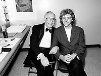 Montreal (qc) CANADA - file Photo - 1991 - <br /> <br /> <br />  - Milton Berle honored at Montreal 1991 Just For Laugh Festival ,<br /> backstage photo with Gilbert Rozon, JFL President