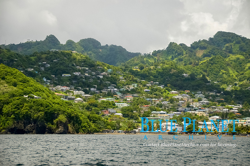 A surface view of the St. Vincent shoreline, St. Vincent and the Grenadines, Caribbean, Atlantic