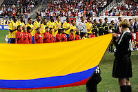 Colombia (COL) players duringthe playing of the Colombian national anthem. The men's national teams of the United States (USA) and Colombia (COL) played to a 0-0 tie during an international friendly at PPL Park in Chester, PA, on October 12, 2010.