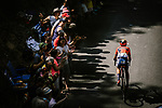 Dylan Teuns (BEL) Bahrain-Merida climbs during Stage 8 of the 2019 Tour de France running 200km from Macon to Saint-Etienne, France. 13th July 2019.<br /> Picture: ASO/Pauline Ballet   Cyclefile<br /> All photos usage must carry mandatory copyright credit (© Cyclefile   ASO/Pauline Ballet)