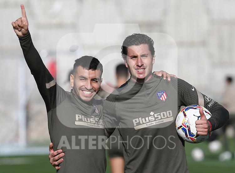 Atletico de Madrid's Angel Correa (l) and Jose Maria Gimenez during training session. October 8,2020.(ALTERPHOTOS/Atletico de Madrid/Pool)