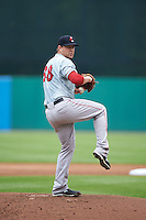 Pawtucket Red Sox pitcher Brian Johnson (38) delivers a pitch during a game against the Syracuse Chiefs on July 6, 2015 at NBT Bank Stadium in Syracuse, New York.  Syracuse defeated Pawtucket 3-2.  (Mike Janes/Four Seam Images)
