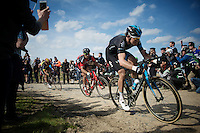 Luke Row (GBR/SKY) over sector 6A: Bourghelles à Wannehain (1.1km)<br /> <br /> 113th Paris-Roubaix 2015