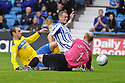 ST JOHNSTONE'S PETER ENCKELMAN SAVES AT THE FEET OF KILMARNOCK'S DEAN SHIELS