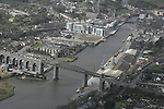 Aerial view of Drogheda showing the Viaduct looking South West across the Boyne.  Scotch Hall, Mary Street and the Dublin Road are in view. 12/04/05...Photo NEWSFILE/Fran Caffrey.(Photo credit should read Fran Caffrey/NEWSFILE)....This Picture has been sent you under the condtions enclosed by:.Newsfile Ltd..The Studio,.Millmount Abbey,.Drogheda,.Co Meath..Ireland..Tel: +353(0)41-9871240.Fax: +353(0)41-9871260.GSM: +353(0)86-2500958.email: pictures@newsfile.ie.www.newsfile.ie.FTP: 193.120.102.198...This picture is from Fran Caffrey@newsfile.ie
