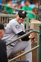 Jackson Generals catcher Mike Dowd (36) in the dugout during a game against the Montgomery Biscuits on April 29, 2015 at Riverwalk Stadium in Montgomery, Alabama.  Jackson defeated Montgomery 4-3.  (Mike Janes/Four Seam Images)