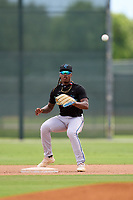 Miami Marlins second baseman Osiris Johnson (5) awaits a throw during a Minor League Spring Training camp day on April 27, 2021 at Roger Dean Chevrolet Stadium Complex in Jupiter, Fla.  (Mike Janes/Four Seam Images)