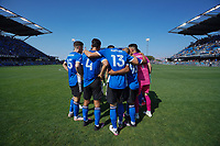 SAN JOSE, CA - AUGUST 8: San Jose Earthquakes huddle before a game between Los Angeles FC and San Jose Earthquakes at PayPal Park on August 8, 2021 in San Jose, California.