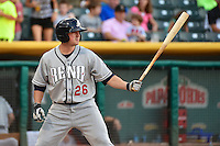 Jordan Pacheco (26) of the Reno Aces at bat against the Salt Lake Bees in Pacific Coast League action at Smith's Ballpark on July 23, 2014 in Salt Lake City, Utah.  (Stephen Smith/Four Seam Images)