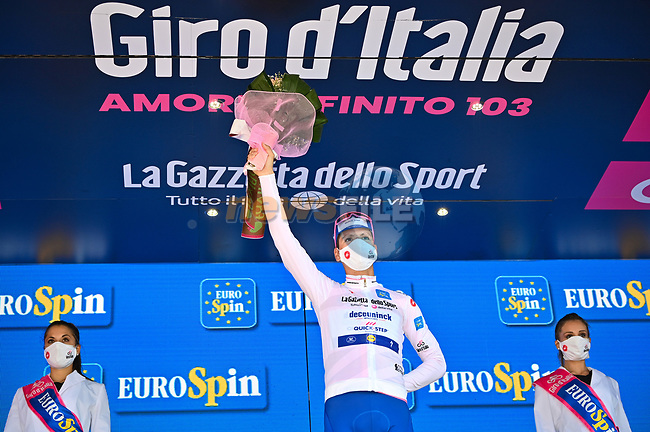 Race leader Joao Almeida (POR) Deceuninck-Quick Step also retains the young riders Maglia Bianca at the end of Stage 7 of the 103rd edition of the Giro d'Italia 2020 running 143km from Matera to Brindisi, Sicily, Italy. 9th October 2020.  <br /> Picture: LaPresse/Massimo Paolone | Cyclefile<br /> <br /> All photos usage must carry mandatory copyright credit (© Cyclefile | LaPresse/Massimo Paolone)