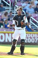 Fernando Pujadas #17 of the Salem-Keizer Volcanoes during a game against the Spokane Indians at Volcanoes Stadium on July 26, 2014 in Keizer, Oregon. Spokane defeated Salem Keizer, 4-1. (Larry Goren/Four Seam Images)