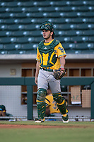 AZL Athletics catcher John Jones (44) during an Arizona League game against the AZL Cubs 1 at Sloan Park on June 28, 2018 in Mesa, Arizona. The AZL Athletics defeated the AZL Cubs 1 5-4. (Zachary Lucy/Four Seam Images)