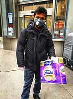 New York, New York City. 3/31-20. New York City in nutshell. At the beginning of the Coronavirus pandemic people began to hoard toilet paper and none was to be found throughout the city. Toilet paper is now available in some places with a one package per person rationing.