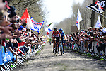 Jelle Wallays (BEL) Lotto-Soudal and Marc Soler (ESP) Movistar Team at the front of the race into the Trouee d'Arenberg during the 116th edition of Paris-Roubaix 2018. 8th April 2018.<br /> Picture: ASO/Pauline Ballet | Cyclefile<br /> <br /> <br /> All photos usage must carry mandatory copyright credit (© Cyclefile | ASO/Pauline Ballet)