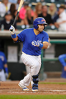 Rafael Lopez #29 of the Iowa Cubs swings against the New Orleans Zephyrs at Principal Park on July  24, 2014 in Des Moines, Iowa. The Cubs won 11-2.   (Dennis Hubbard/Four Seam Images)