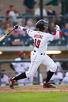 Hunter Greene (49) of the Billings Mustangs follows through on his swing against the Missoula Osprey at Dehler Park on August 21, 2017 in Billings, Montana.  The Osprey defeated the Mustangs 10-4.  (Brian Westerholt/Four Seam Images)