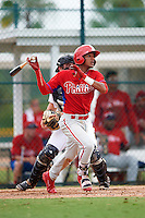 GCL Phillies second baseman Daniel Brito (21) at bat during a game against the GCL Pirates on August 6, 2016 at Pirate City in Bradenton, Florida.  GCL Phillies defeated the GCL Pirates 4-1.  (Mike Janes/Four Seam Images)