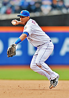 11 April 2012: New York Mets shortstop Ruben Tejada in action against the Washington Nationals at Citi Field in Flushing, New York. The Nationals shut out the Mets 4-0 to take the rubber match of their 3-game series. Mandatory Credit: Ed Wolfstein Photo