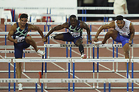 26th August 2021; Lausanne, Switzerland;  Allen of Great Britain wins the mens 400m hurdles during Diamond League athletics meeting  at La Pontaise Olympic Stadium in Lausanne, Switzerland.