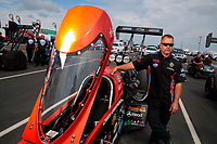 Sep 1, 2019; Clermont, IN, USA; Crew member for NHRA top fuel driver Chris Karemesines during qualifying for the US Nationals at Lucas Oil Raceway. Mandatory Credit: Mark J. Rebilas-USA TODAY Sports