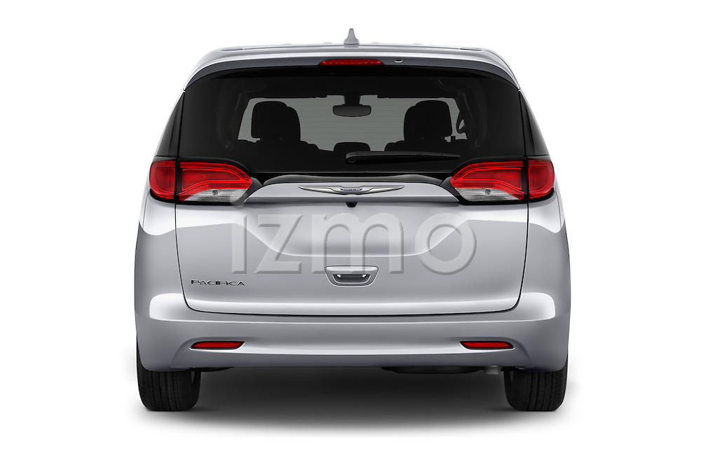 Straight rear view of 2017 Chrysler Pacifica LX 5 Door Minivan Rear View  stock images