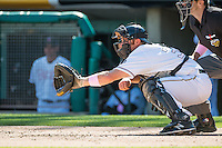 Charlie Cutler (37) of the Salt Lake Bees on defense against the Reno Aces in Pacific Coast League action at Smith's Ballpark on May 10, 2015 in Salt Lake City, Utah. Reno defeated Salt Lake 11-2 in Game Two of the double-header.  (Stephen Smith/Four Seam Images)