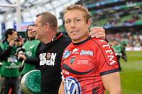 Jonny Wilkinson of RC Toulon celebrates winning the Heineken Cup Final between ASM Clermont Auvergne and RC Toulon at the Aviva Stadium, Dublin on Saturday 18th May 2013 (Photo by Rob Munro)