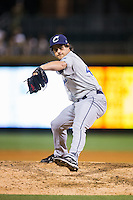 Columbus Clippers relief pitcher Jeff Johnson (40) in action against the Charlotte Knights at BB&T BallPark on May 3, 2016 in Charlotte, North Carolina.  The Clippers defeated the Knights 8-3.  (Brian Westerholt/Four Seam Images)