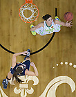 Apr 7, 2013; Notre Dame Natalie Achonwa reaches for the ball under the during the semifinals against Connecticut in the 2013 NCAA women's basketball Final Four at the New Orleans Arena. Connecticut defeated Notre Dame 83 to 65. Photo by Barbara Johnston/ University of Notre Dame