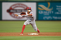 Clearwater Threshers second baseman Daniel Brito (21) stretches for a throw during a Florida State League game against the Dunedin Blue Jays on April 4, 2019 at Spectrum Field in Clearwater, Florida.  Dunedin defeated Clearwater 11-1.  (Mike Janes/Four Seam Images)