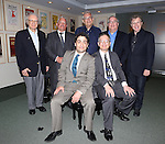 (clockwise from top left) Sheldon Harnick, Elliot Brown, Richard Maltby, Jr., Richard Terrano and Maury Yeston pose for photos with 2013 Kleban Prize winners, Alan Gordon and Daniel Mate attending the 23rd Annual Kleban Prize Reception at ASCAP on June 24, 2013 in New York City.